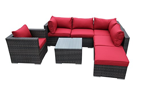 SMU 7pcs Rattan Patio Furniture Set Garden Lawn Sofa Cushioned Seat Wicker Sofa price