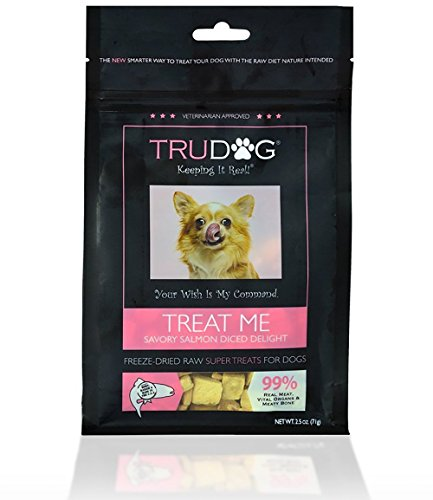 Real Meat Organic Dog Treats - Treat Me: Savory Salmon Diced Delight Freeze-Dried Raw Super Treats (2.5oz) - 100% All Natural Treats Support Healthier Teeth and Gums, Skin and Coat, and A Boosted Immune System