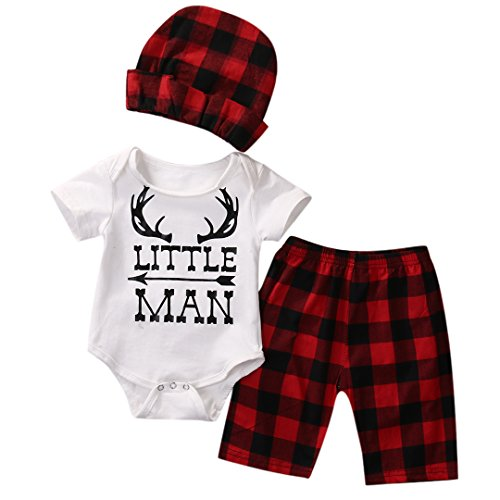 Hotone Christmas 3pcs Newborn Infant Baby Boys Girls Top Romper Pant Hat Outfits (0-3M, Red)
