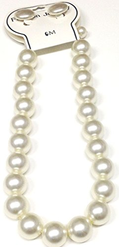 imported-large-ivory-pearl-short-chain-necklace-earrings-on-clips