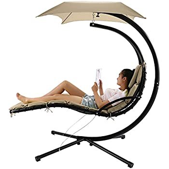 Floating Hanging Chaise Lounger Chair Swing Hammock With Canopy,350lbs  Capacity (Beige)