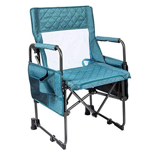 Multi-Fold Rocking Director Outdoor Camping Chair Fashionable Quilted Heather Polyester Utility Side Pouch- Cup Holder, Cell Phone Holder and More