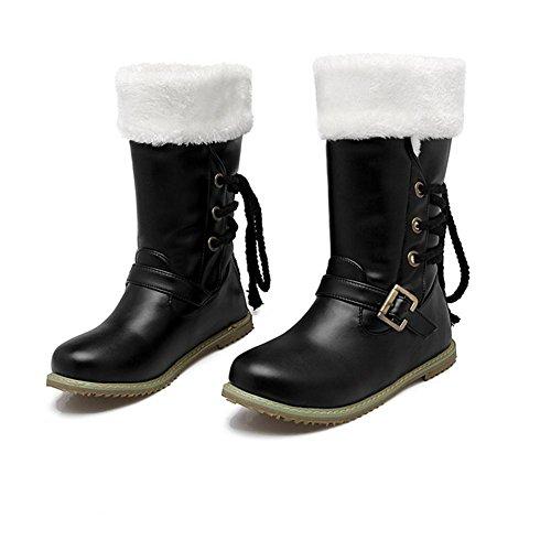 HInvierno la en BLACK XIAOGANG goma encaje hebilla botas frente 39 negro nieve planas blanco H desgaste respirable beige botas mujeres botas 45xqz8H5