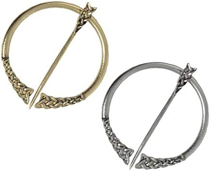 2個入り バイキング風 ブローチピン 半円形 彫刻柄 ショールスカーフピン バッジ 襟ピン 服アクセサリー