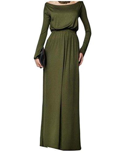 Coolred-femmes Solide Simple De Couleur Taille Haute Mince Maxi Vert Robe Longue