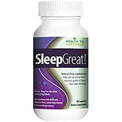 Health to Happiness SLEEP GREAT,Natural Sleep Aid,100 capsules.Non-Habit Forming Sleeping Pill.Helps You fall Asleep Faster SPECIAL BLEND with Melatonin, Valerian, Lemon Balm & Passion Flower extract
