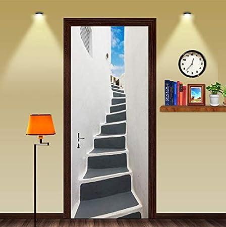 FLFK 3D Puerta de escaleras Creativas Adhesivo Fotográfico Vinilos Puerta Pegatina Pared Murales para Cocina Sala de Baño Decorativos 77X200cm: Amazon.es: Hogar