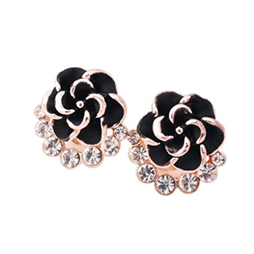 Willsa Girls Cute Exquisite Peony Flower Shape Clip On Crystal Stud Earrings (Gold)