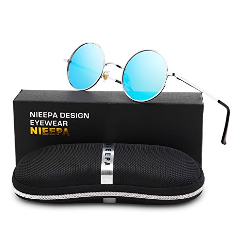 NIEEPA John Lennon Vintage Round Polarized Hippie Sunglasses Small Circle Metal Driving Sun Glasses (Blue Lens/Silver - Blue Glass Frames