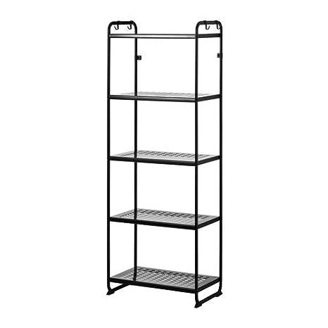IKEA Mulig Shelving Unit 5 Stain Resistant Shelves with Hooks Organizer  (Black)