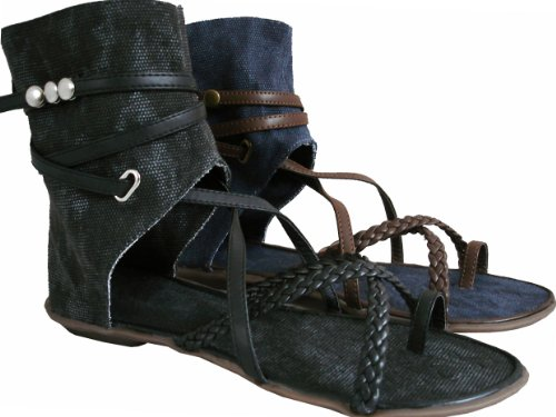 Blue Summer Cuff High Sandals Denim Strappy Flat Ladies Festival Plait Ankle Holiday BfHPwqAxq