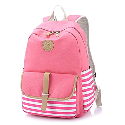 Casual Shoulder Boys Pink Canvas Bag for Beige Backpack Teens Daypack 93 Cotton Girls School Xwg4xawr