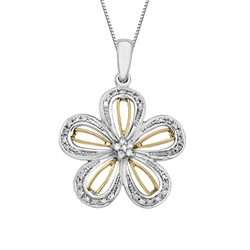 1/8 ct Diamond Flower Pendant Necklace in Sterling Silver & 14K Rose Gold (Diamond Pendant Flower White Gold)