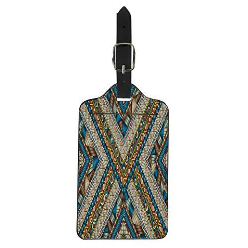 - Pinbeam Luggage Tag Original Drawing Tribal Doddle Rhombus Geometric Clipping Mask Suitcase Baggage Label