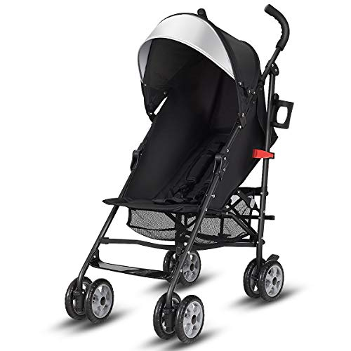 Costzon Lightweight Stroller, Baby Umbrella Convenience Stroller, Travel Foldable Design with Sun Canopy/ 5-Point Harness/Storage Basket (Black)