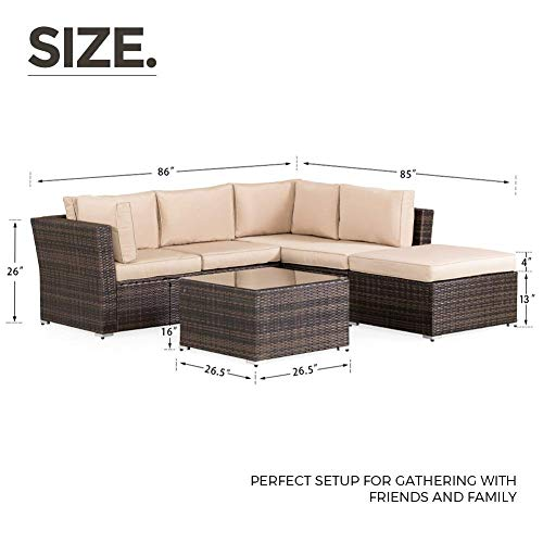 SUNCROWN Outdoor Patio Furniture Sectional Sofa (4 Piece Set) All Weather Brown Checkered Wicker with Beige Washable Seat Cushions and Glass Coffee Table, Backyard, Pool, Waterproof Cover and Clips