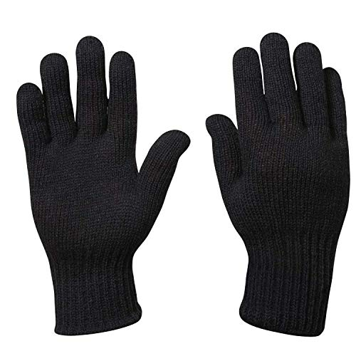 Warm Wool Gloves - Warm Winter Wool Gloves, GI Military Glove Liners, Black, Large