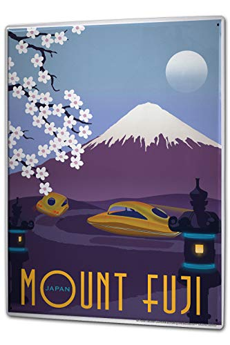 onepicebest Tin Sign 12 X 16in Globetrotter Mount Fuji Japan Vintage Metal Sign