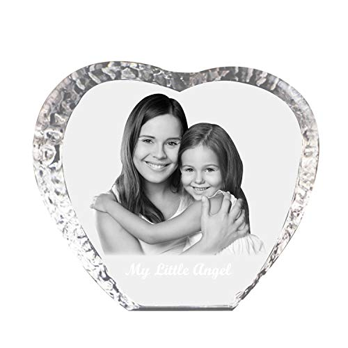 Qianruna Custom Personalized 2D/3D Laser Engraving Etched Photo Crystal Glass Picture Heart Iceberg for Birthday,Anniversary,Valentine's Gifts (Medium)