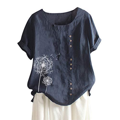 XVSSAA Women's Round Neck T-Shirt, Ladies Solid Color Dandelion Printed Button Large Size Cotton Linen Top - Inset Knit Leggings Skirt