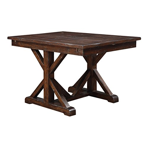 Gathering Table Trestle Base - Emerald Home Ashland Brown Gathering Height Dining Table with Self Storing Butterfly Extension Leaf And Farmhouse Trestle Base