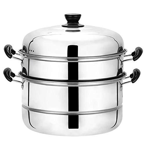 Beeiee 3 Tier Stainless Steel 11.2-Inch Diameter Steamer Cookware Pot Saucepot Multi-layer Boiler (3 Tier Steamer Stainless Steel)