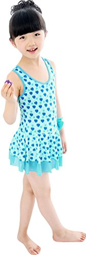Fairy Wings Little Girl Strawberry Pattern One-Piece Swimming Suit with Bowknot Blue