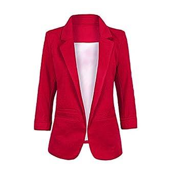 SODIAL(R) - Chaqueta de traje - para mujer rojo rosso M: Amazon.es ...