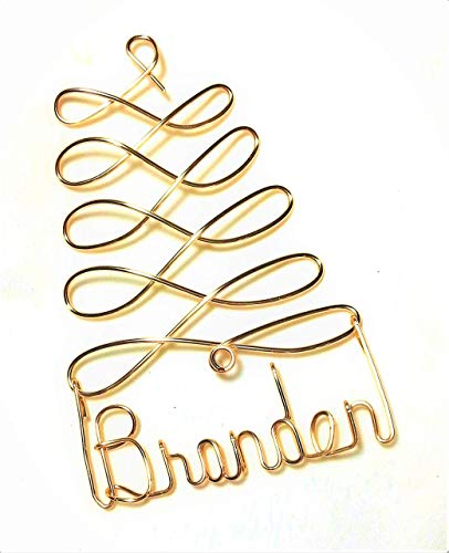 Personalized Christmas Ornament - Gold Tree - Any Name Designed, Gift Name Tag, Custom Name Tree Ornament, Personalized Holiday Ornament]()