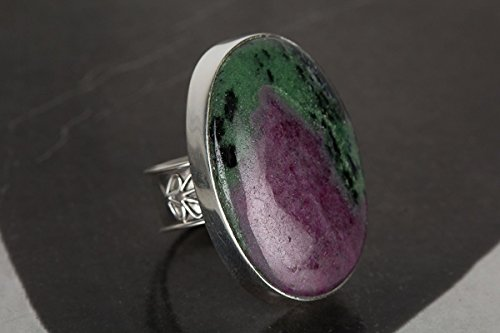 Ruby Zoisite Ring, 925 Sterling Silver, Cabochon Jewelry, Prince Ring, Angle Jewelry, Yoga Ring, Bohemian Jewelry, Birthstone Jewelry, Unique Ring, Indian Style, Celebrity Style Designer Ring