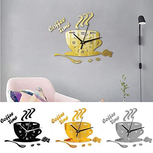 xinnio Mute Waterproof Coffee Cup Shape Quartz Wall Clock Home Decorative Clock Wall Clocks