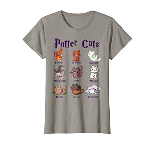 Womens Potter Cats Cute Harry Pawter Kitten Tshirt gift for -