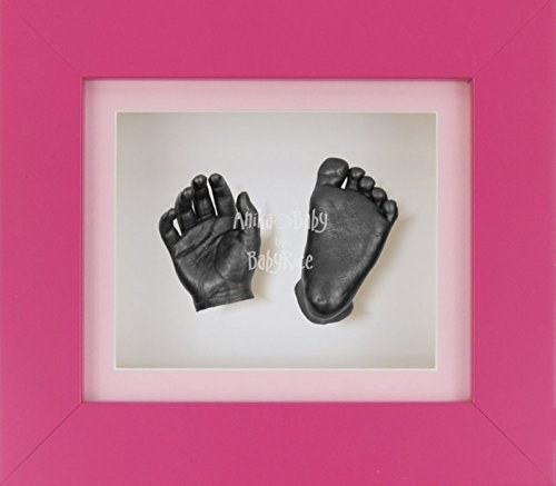 BabyRice 3D Baby Boy Casting Kit Pink Frame Pewter Foot Casts