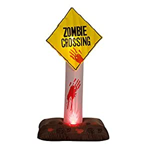 6' Zombie Crossing Sign Halloween LED Lighted Outdoor Airblown Inflatable Yard Decoration w/ Red Lighting Special Effects