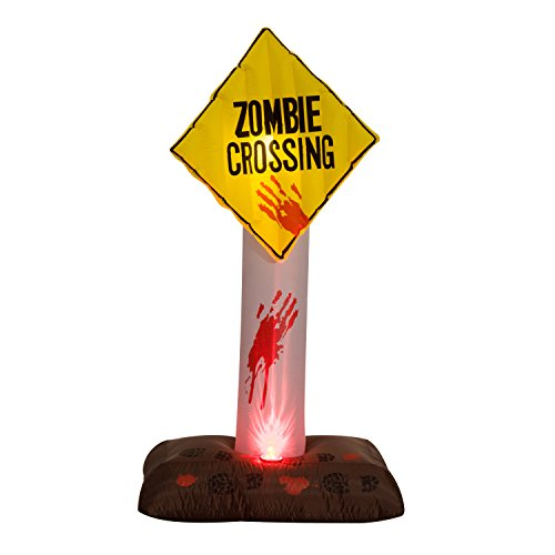 Airblown Inflatable Halloween Decoration - Zombie Crossing Sign (Inflatable Safety Signs)
