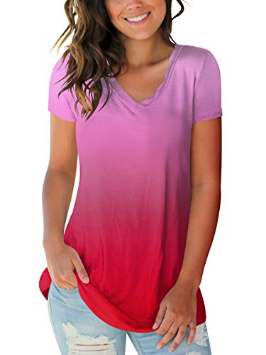 Womens Summer V Neck Loose Fitting Tops Casual Tee Shirts Blouse Ombre Red M