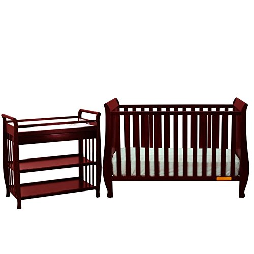 Athena Naomi 4 in 1 Convertible Crib with Changing Table in Cherry by AFG