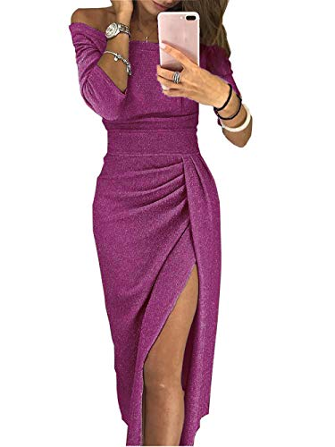 Womens Off Shoulder Dress Ruched Metallic Knit High Slit Shiny Evening Cocktail Bodycon Fuchsia Medium