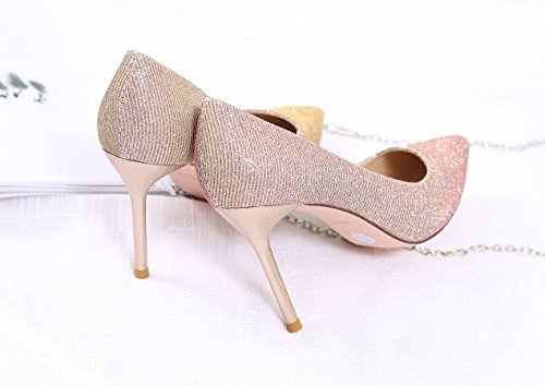 Heels Pink Fine All Work Lady Is Tip Shoes Elegant 34 Temperament With High Shallow Party Spring Sexy Mouth Match 9Cm Leisure MDRW Lady ZF7TcPdwqq