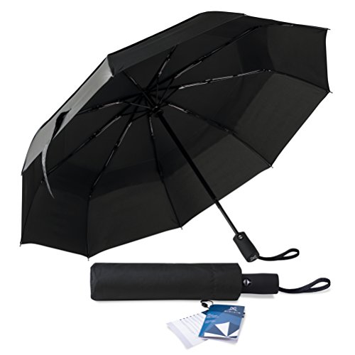 Pixi Air Travel Umbrella- Top Windproof Compact Double Canopy Lightweight Wind Resistant & Sunproof Umbrella- Best Folding Sturdy Auto Open/ Close Portable Umbrella, Easily Carried In All Your Travels (Wind Vent)