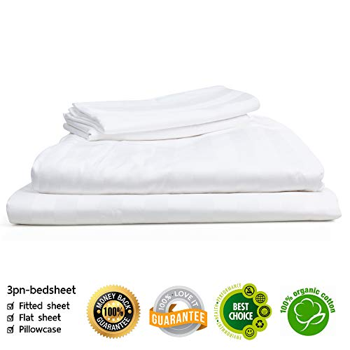 "3pnshop 100% Cotton Queen Sheets Pure White Set, 4-Piece 1000 Thread Count Thailand Cotton Sateen Stripe Sheet Set Fits Mattress Up to 18"" Deep Pocket, Soft, Breathable Luxury Design Bed"