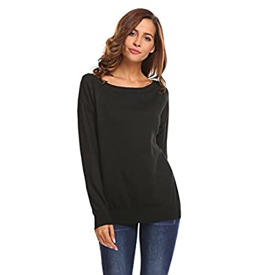 SoTeer Women's Off Shoulder Sweater Boat Neck Long Sleeve Loose Fitting Sexy Sweatshirt Knit Jumper Sweater Pullover: Clothing