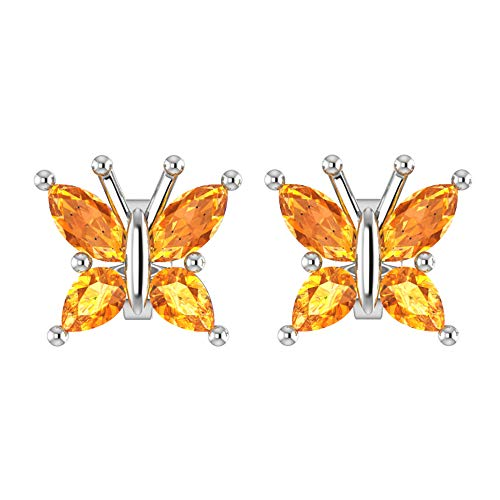 Sterling Silver Marquise Cut 1/2 Carat Natural Citrine Butterfly Stud Earrings with Push Backs, Dainty Butterfly Studs, Rhodium Plated Sterling Silver Stud Earrings for ()