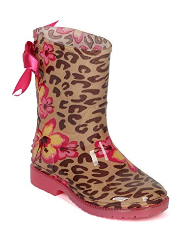 Alrisco Girls (Little Girl/Big Girl) Leopard and Flowers Rain Boot - IA64 by Jelly Beans