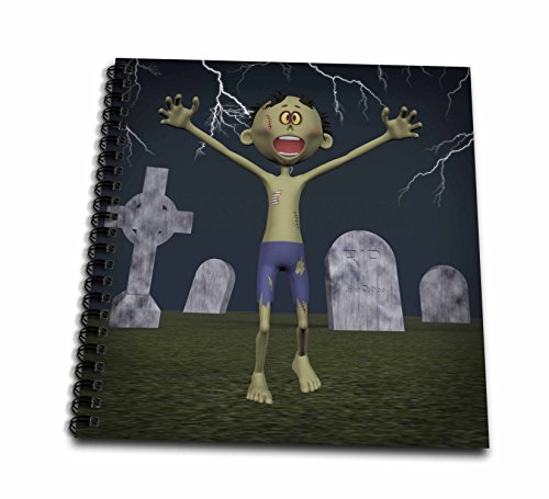 3dRose db_54382_1 Zombie in Graveyard with Lightning Drawing Book, 8 by 8-Inch
