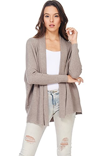 A+D Womens Casual Ribbed Knit Open Front Cardigan Sweater Top (Mocha, (Mocha Satin A-line)