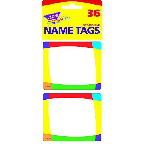 TREND ENTERPRISES INC. NAME TAGS COLOR BRIGHT 36/PK (Set of 24)