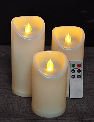 HOME MOST Set of 3 Waterproof LED Pillar Candles with Remote & Timer (CREAM, 5