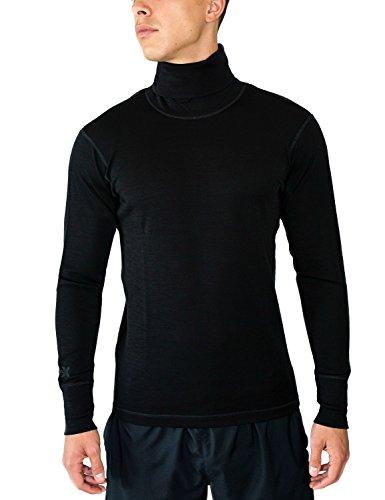 Woolx Prescott - Men's Merino Wool Turtleneck - Midweight Wool Base Layer Shirt, Large, Black (Merino Turtleneck)