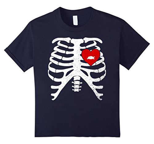 Russian Costume For Girls (Kids Skeleton Rib Cage T-Shirt Halloween Costume RUSSIAN TORTOISE 12 Navy)